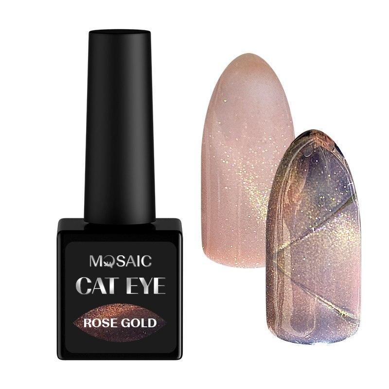 Rose gold cat eye gel polish