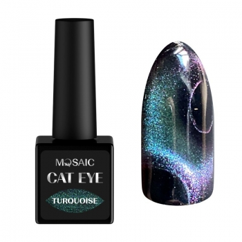 Turquoise cat eye gel polish