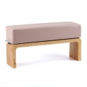 Beige hnd cushion with wooden base