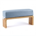 Blue metallic hand cushion with wooden base