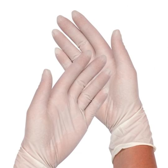 Latex powder free gloves. M size
